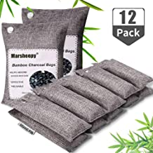Marsheepy 12 Pack Bamboo Charcoal Bags,Car Air Fresheners, Charcoal Odor Absorber, Shoe Deodorizer Bags, Odor Eliminator for Home, Pets, Car, Closet (200g X 2 and 75g x 10)