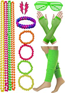 Dancing Stone 1980s Theme Party Supplie Neon Bead Necklace Bracelet with Eye Frame