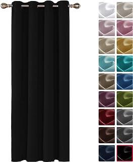 Deconovo Cortinas Salón Modernas Aislantes Térmicas para Habitación con Color Liso 1 Pieza 140 x 180 cm Negro