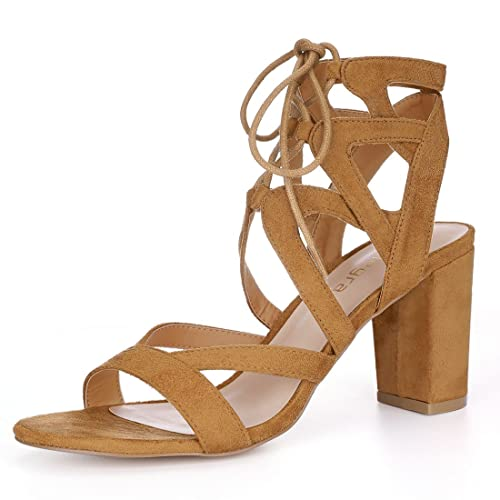 42a8972baaa Allegra K Women s Crisscross Chunky Heel Lace Ups