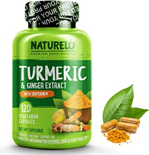 NATURELO Organic Turmeric Curcumin - BioPerine for Better Absorption - Curcuminoids, Black Pepper, Ginger Powder - Natural Relief for Stiff, Sore Joints - 120 Vegan Capsules