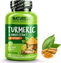 NATURELO Organic Turmeric Curcumin - BioPerine for Better Absorption - 95% Curcuminoids + Natural Black Pepper & Ginger Powder - Anti Inflammatory Supplement for Joint Pain Relief - 120 Vegan Capsules