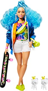 Barbie Extra Doll #4, Curvy, in Zippered Bomber Jacket with 2 Pet Kittens, Extra-Curly Blue Hair, Layered Outfit & Accessories Including Skateboard, Multiple Flexible Joints, Gift for Kids