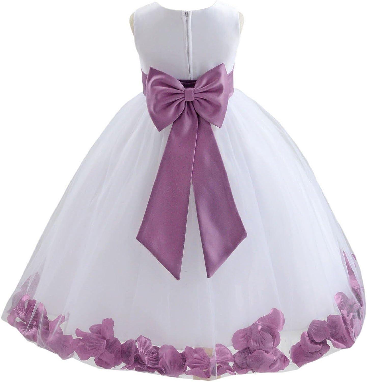 ekidsbridal White Flower Girl Dress Clover Green Wisteria Teal Blue Maroon Red 814T