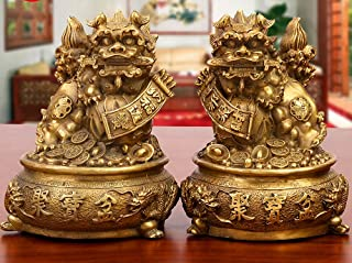 Wenmily Large Size Wealth Porsperity Brass Pair of Fu Foo Dogs Guardian Lion with Treasure Basin Statues,Best Housewarming Congratulatory Gift to Ward Off Evil Energy,Feng Shui Decor
