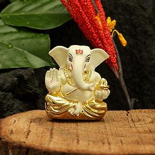 CraftVatika Gold Plated Off White Terracotta Appu Ganesha for Car Dashboard Statue God Ganesh Murti Ganpati Idol FigurineH...