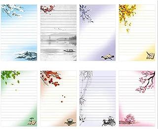 IMagicoo 40 ورق قرطاسية كتابة مبطن، مجموعة أحرف تصميم قديم، 8 أنماط مختلفة