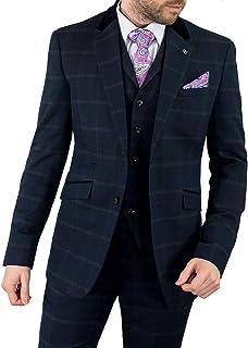 96f8fde64f Cavani Connall Men 3 Piece Tweed Check Suit, Blue, Brown & Navy