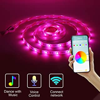 BASON LIGHTING Smart led Strip Light, WiFi Wireless Smart Phone Controlled Light Strip LED Kit, Multi Color Rope Light, Work with Android & iOS, Alexa, Google Assistant, Power Adapter, RGB.