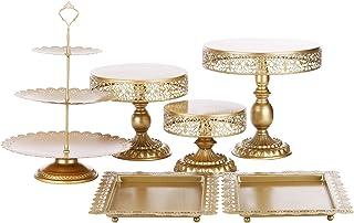 ست های کیک BOLATU , 6 عدد پایه های کیک گرد فلزی ست ست های کیک کیک ست جشن تولد مهمانی عروسی پایه های نمایش دسر چای Arternoon , طلایی