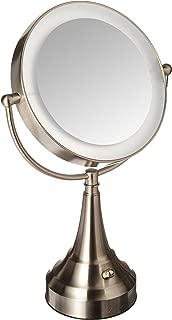 Zadro 10x Mag Next Generation LED Cordless Double Sided Round Vanity Mirror, 11-Inch, Satin Nickel Finish