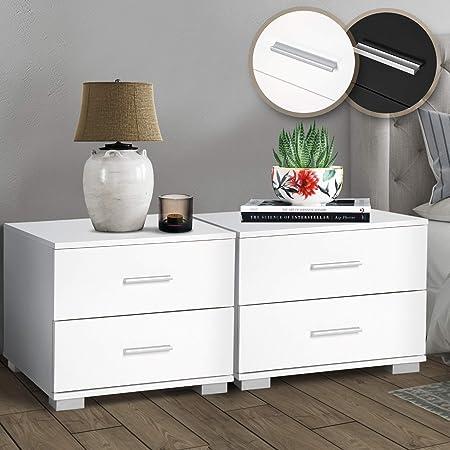 Miadomodo® Table de Chevet, Lot de 2-40 x 40 x 35 cm, avec 2 Tiroirs, en MDF Mélaminé, Couleur au Choix - Table de Nuit, Meuble de Chambre à Coucher