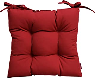 RSH Décor Indoor/Outdoor Sunbrella Canvas Jockey Red Tufted Seat Cushion with Ties for Dining/Patio Chairs - Choose Size (16