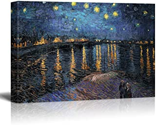 wall26 Starry Night Over The Rhone by Vincent Van Gogh - Oil Painting Reproduction on Canvas Prints Wall Art, Ready to Hang - 24