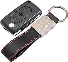 Carcasa Funda Llave Remoto Mando 2 Botones para Peugeot 107 207 307 407 308 409 407 607 con Llavero de Cuero KASER