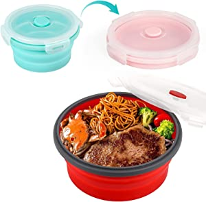 Collapsible Plate Bowl With Lid Silicone, Bento Lunch Box Food Storage Container Round, Folding Mixing Bowl, Backpacking Bowl for Travel Camping Hiking, Dishwasher Microwave and Fridge Safe, BPA Free