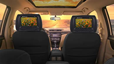 Pair Rockville RHP7-BK 7 Black Plug N Play Car Headrest Monitors w/Speakers+IR