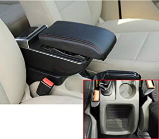 MyGone for Ford Focus 2 09-11 Car Interior Accessories Center Console Armrest Box,Oversized Storage Space,Cover can be Raised,Built-in LED Light,with Cup Holder,Removable Ashtray,Black
