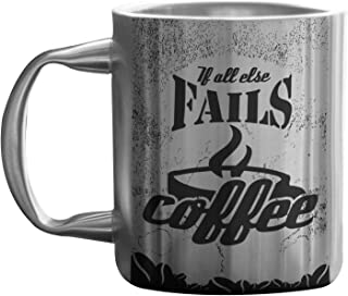 Hot Muggs Coffee Stainless Steel Double Walled Mug, 265ml (If all else fails…Coffee stanless mug)