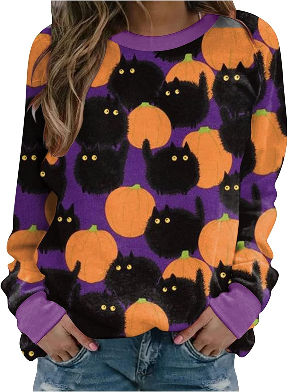 AODONG Halloween Sweatshirts for Women, Womens Long Sleeve Cute Pumpkin Printed Loose Shirts Oversized Pullover Tops