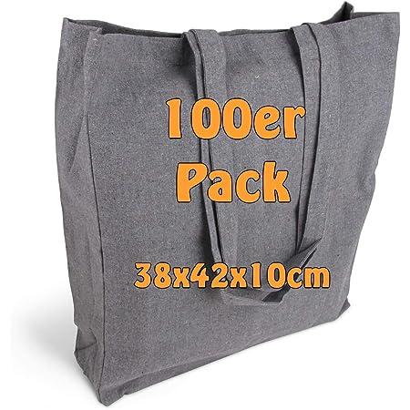 Cottonbagjoe Einkaufstaschen | 38x42x10 cm | Seiten und Bodenfalte | mit langen Henkeln | Jutebeutel | Baumwolltaschen zum Bemalen, Bedrucken | DIY