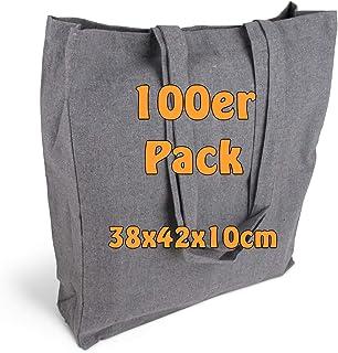 Cottonbagjoe Einkaufstaschen | 38x42x10 cm | Seiten und Bodenfalte | mit langen Henkeln | Jutebeutel | Baumwolltaschen zum...