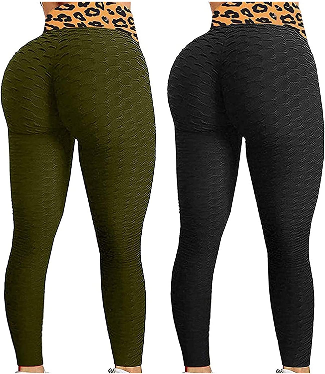 2 Pack Peach Lift Leggings for Women,Butt Lift Leggings for Women Workout Yoga Pants Ruched Booty High Waist Seamless Leggings Compression Tights