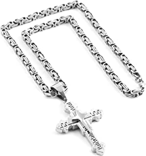 Men's Stainless Steel Silver/Gold Greek Key Cross Pendant Necklace Mechanic Style 22 24 30
