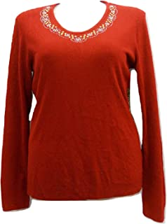 Women's Sweater Embellished V-Neck Long-Sleeve Solid Red Size XL