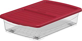 Cosmoplast Plastic Storage Box Clear with Lid for Under-bed 25 Liters