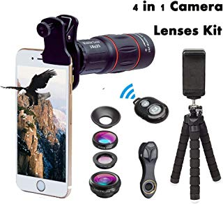 Cell Phone Camera 4 in 1 Lens Kits 18X Monocular Telephoto Lens,Fisheye,Macro,Wide Angle Lens,Flexible Tripod + Clip + Remote Shutter + Phone Photography Kit for iPhone X/8 7 Plus 6 Android Smartphone