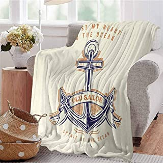 Boys Throw Blanket Old Sailor Spirit Sign Firmly Anchored to The Ocean Image in Vintage Style Orange Blue Yellow Dorm Bed Baby Cot Traveling Picnic W57 xL74