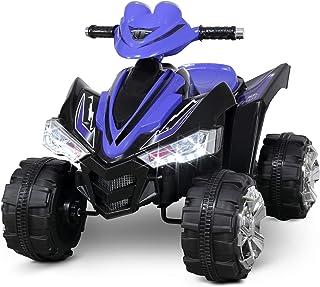 Kidzone Kids Ride On ATV Car 12V Battery Powered Electric 4-Wheeler 2 Speed Kid Quad Bike LED Headlights, ASTM F963 Certified, Blue