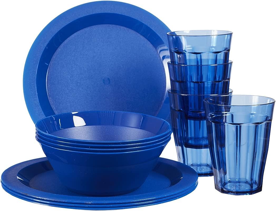 Cambridge Plastic Plate Bowl And Tumbler Dinnerware 12 Piece Set Blue