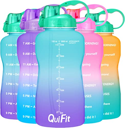 QuiFit Motivational Gallon Water Bottle - with Straw & Time Marker,BPA Free Reusable Large Leakproof Portable Water J...