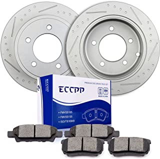 Brake Rotors Pads Kits,ECCPP 2pcs Rear Discs Brakes Rotors and 4pcs Ceramic Disc Brake Pads Set for Chrysler 200,Chrysler Sebring,Dodge Avenger,Dodge Caliber,Jeep Compass,Mitsubishi Lancer