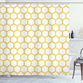 Ambesonne Yellow and White Shower Curtain, Hexagonal Pattern Honeycomb Beehive Simplistic Geometrical Monochrome, Cloth Fabric Bathroom Decor Set with Hooks, 70