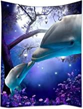 """SXCHEN Tapestry Art Wall Hangings Tapestries Mysterious Forest Night Sky Funny Dolphin Kissing 40""""x60"""""""