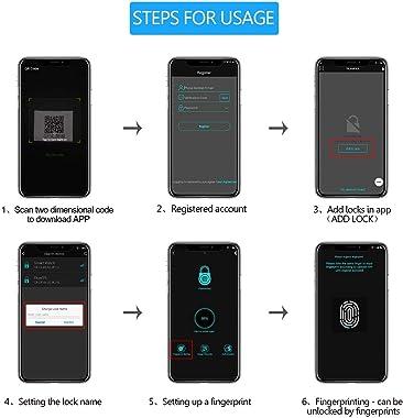 Fingerprint Padlock, Bluetooth Thumbprint Lock USB Rechargeable IP65 Waterproof Ideal for Locker, Gate,Handbags, Golf Bags, W