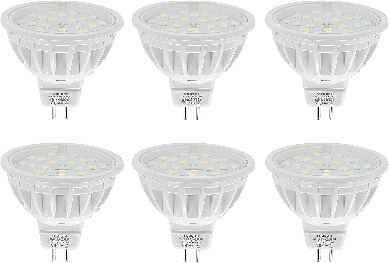Uplight 5.5W MR16 LED Bombillas Gu5.3 Destacar,Blanco Frío 6000K,Equivalente 50-60W Luz Halógena,Ra85 600LM DC12V,6 Piezas.