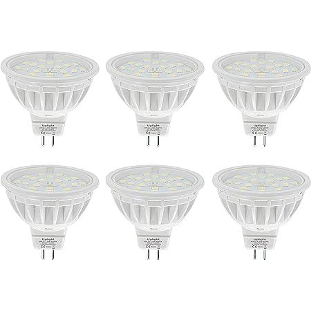 Uplight MR16 Ampoule LED Gu5.3 Projecteur,5.5W Blanc froid 6000K Équivalent 50-60W Halogène,Ra85 600LM DC 12V,Lot de 6.