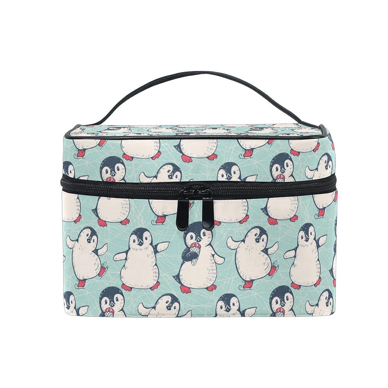 条件付き算術散文ALAZA 化粧ポーチ ペンギン柄 南極 化粧 メイクボックス 収納用品 グリーン 大きめ かわいい