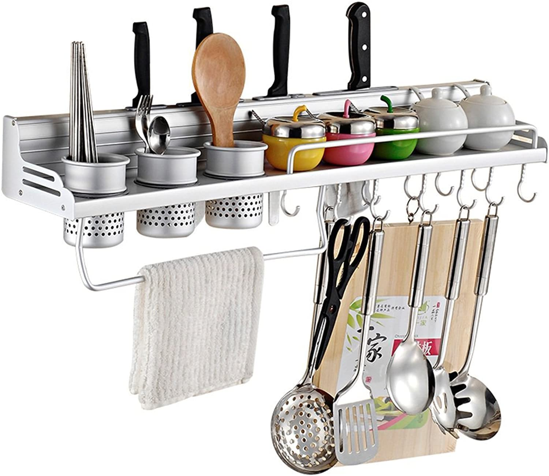 GRY Küchen-Speicher-Regal an der Wand befestigtes Gewürz-Gewürz-Regal Messer-Halter Raum-Aluminium-Speicher-Regal, mit Haken