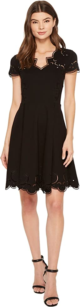 Saloane V-Neck Embroidered Skater Dress
