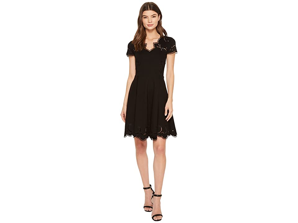 Ted Baker Saloane V-Neck Embroidered Skater Dress (Black) Women