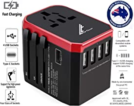 LE TILLAY Universal Travel Adaptor 5.6A (MAX) - High Speed 2.4A - 4 USB and 1 Type-C for AU US EU UK - International Power Adapter - Universal Travel Adapter - Worldwide All in One Plugs Smart Charger AC Power Wall Plug for Worldwide 150+ Countries like Europe Asia Japan Australia Middle East India Israel Germany France Italy India Africa China Russia American British European Adaptor (RED)