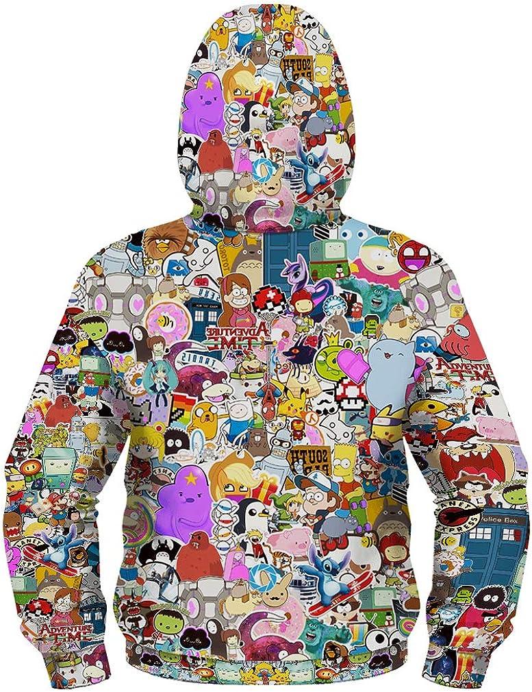 Leslady Sudaderas con Capucha Chaqueta de Dibujos Animados Estampado 3D de Cremallera Packaway oto/ño Abrigo para ni/ños