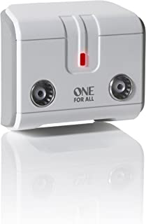 One For All Signal Booster/Splitter for TV - 2 Outputs (14x amplified) - Plug and Play - For interference free reception - Full HD compatible - white - SV9602