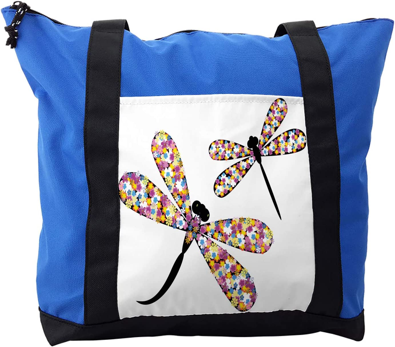 Ambesonne Colorful Shoulder Bag, Dragonflies Black Body, Durable with Zipper