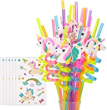 Reusable Unicorn Drinking Plastic Straws + Unicorn Temporary Tattoos for Girls | Unicorn Birthday Party Supplies - Rainbow Unicorn Party Favors Decorations - Set of 30 with Cleaning Brush